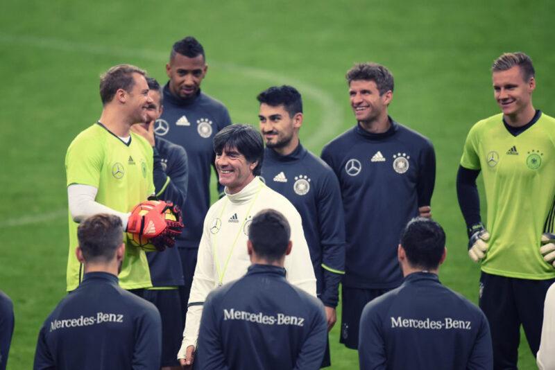 サッカーEURO2016大会に向けて国際親善試合にのぞむドイツ代表の練習風景