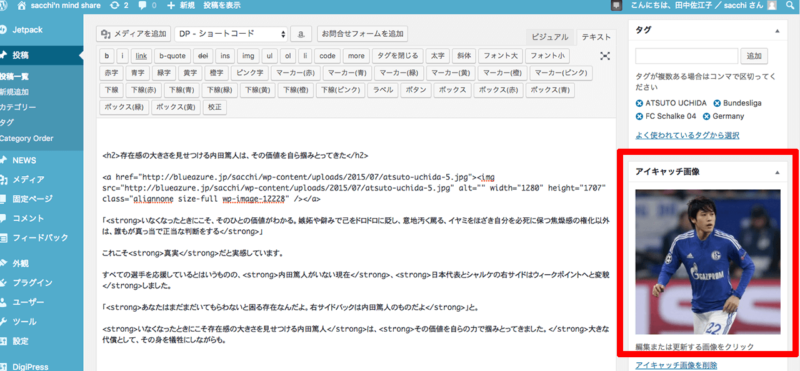WordPress無料テーマから有料テーマDigiPress「Fancie NOTE」に変更後、デザイン調整作業をおこなうWEBマガジン・SACCHI'N MIND SHAREの管理画面スクリーンショット