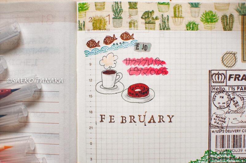 ほぼ日手帳カズンにサクラクレパス ピグマ0.05・呉竹ZIGクリーンカラーリアルブラッシュを使ってイラスト描き