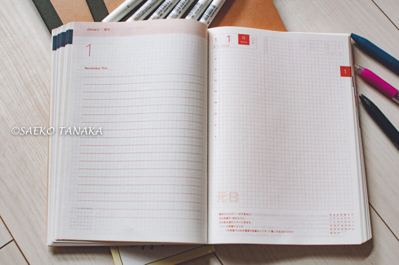 スケジュール管理だけでなく、コラージュ・スクラップ・アイデアメモ・情報集約・日記・イラスト描きにも最適な、ほぼ日手帳カズンの1日1ページ紙面と、ゼブラのマイルドライナー・サラサドライ、無印良品6mm横罫B5ノート