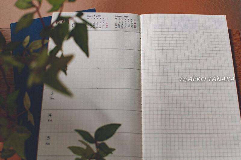 スケジュール管理だけでなく、手帳デコ・コラージュ・スクラップ・アイデアメモ・情報集約・日記・イラスト描き・カスタマイズでも楽しめて最適な、トラベラーズノートのダイアリー週間+メモリフィルの週間スケジュール紙面