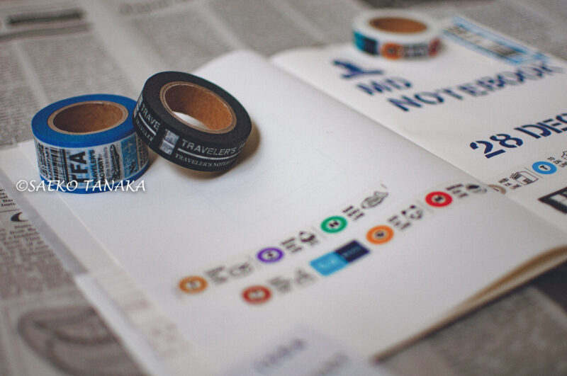 コラージュ・スクラップ・アイデアメモ・情報集約・日記・イラスト描き・カスタマイズが楽しめて最適な、ミドリのMDノートA5無罫と、おしゃれでセンスがよいトラベラーズファクトリーマスキングテープ各種・スタンプ工房愛のステンシルアルファベットスタンプ