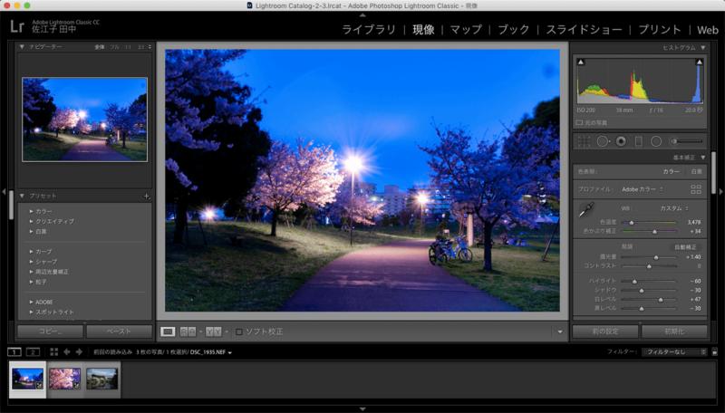 Adobe Lightroomアドビライトルームの編集画面