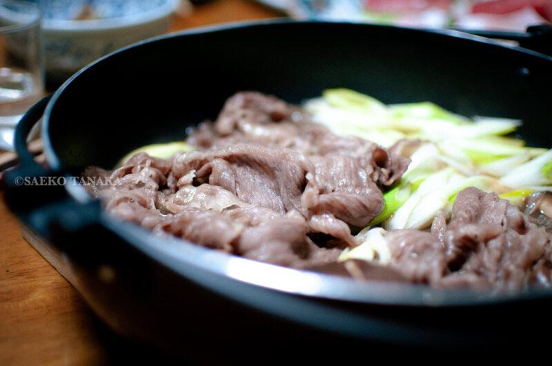 関東・東京の我が家のお正月料理・高級肉使用のすき焼き