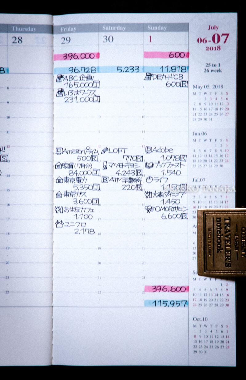 手帳を家計簿代わりにするときにもおすすめのトラベラーズノート ダイアリー週間バーチカル