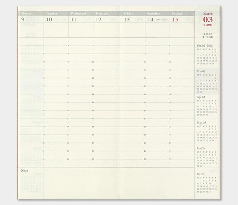 手帳を家計簿代わりにするときにもおすすめのトラベラーズノート ダイアリーリフィル週間バーチカル