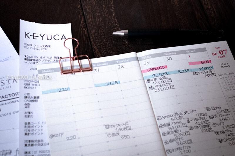 手帳を家計簿代わりにするときにもおすすめのトラベラーズノート ダイアリー週間バーチカルと支出管理のレシート