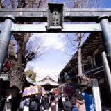 満開の紅梅白梅が楽しめる東京の梅名所、湯島天神/湯島天満宮の鳥居