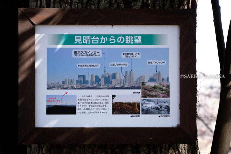 満開の紅梅白梅が楽しめる東京の梅名所、京王百草園の見晴台から眺める、東京スカイツリー・新宿副都心などの東京都心ビル群図