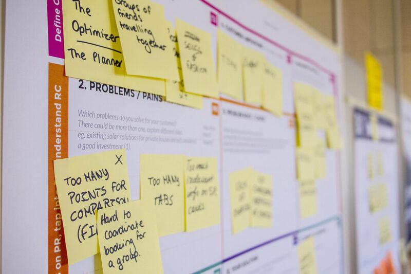 壁一面のボードを使用し、アイデアや戦略プラン、マーケティング情報を付箋紙に記入して、ペタペタ貼ってあるオフィス風景