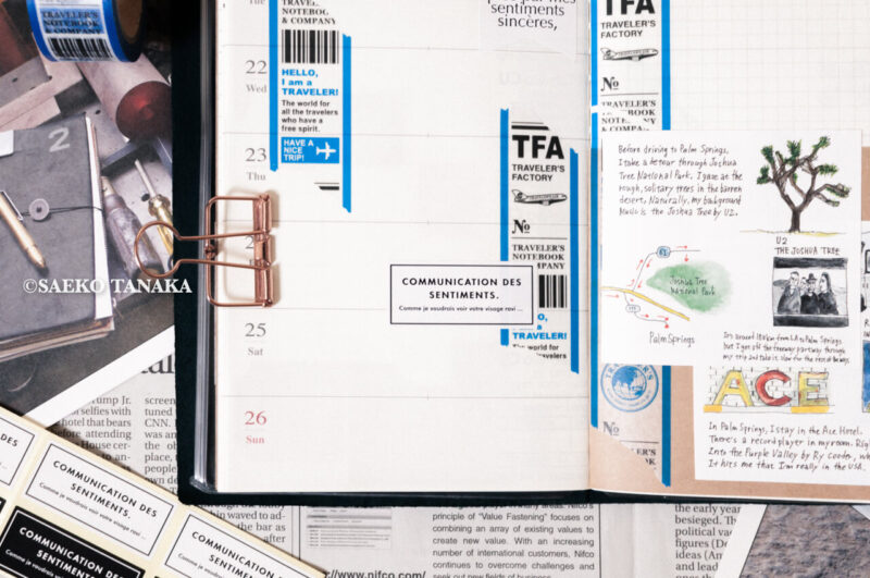 トラベラーズノート 2020ダイアリー 週間+メモリフィル レギュラーサイズのスケジュール欄に、中目黒・東京駅のトラベラーズファクトリー店舗やおしゃれな雑貨屋で購入したスタンプ・マスキングテープ・紙ものの素材で手帳コラージュをした2020年1月20日(月)〜2020年1月26日(日)の見開き中身