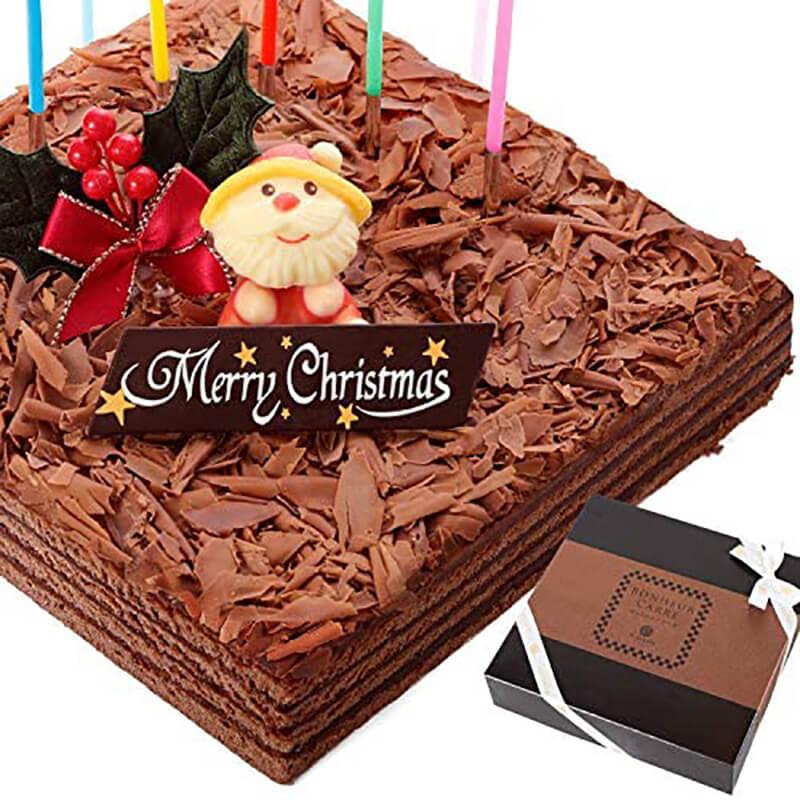 おうちクリスマスを楽しむために便利なAmazonで購入した、口コミ・レビュー人気が高い『お菓子屋フランソワ』のおしゃれでお得で美味しいクリスマスケーキ『チョコレート ボヌール・カレ』