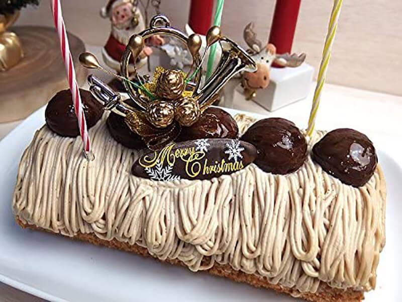 おうちクリスマスを楽しむために便利なAmazonで購入した、口コミ・レビュー人気が高い『神戸スイーツ』のおしゃれでお得で美味しいクリスマスケーキ『マロンロール モンブラン』