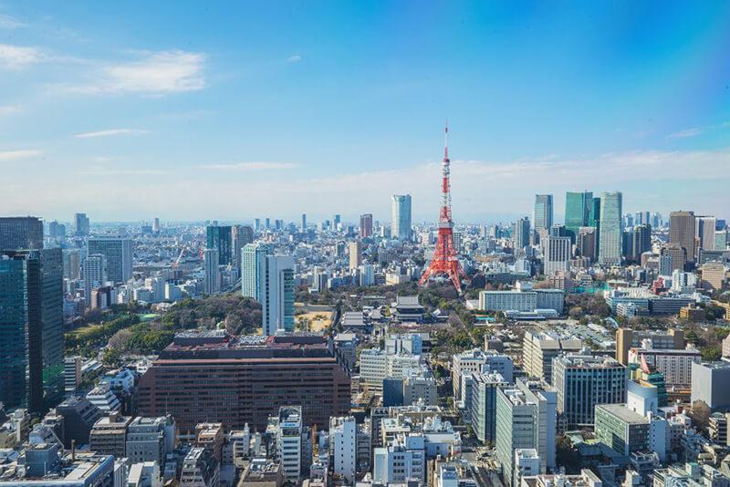 日本の首都・東京の東京タワーを中心とした風景